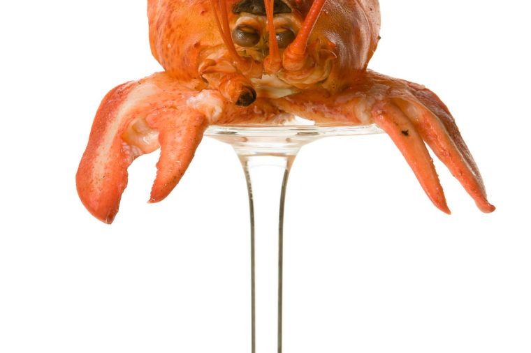 Lobster on a reversed glass